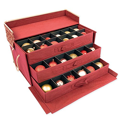 Red and Gold 3 Tray Ornament Storage Box with Dividers and snowflake pattern. Store up to 72 3 inch Ornaments (Gold Storage Box With Lid compare prices)
