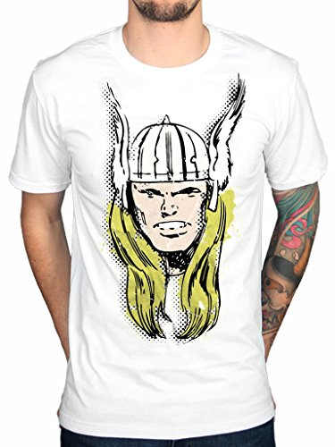 Official Marvel Comic Thor Big Head Distressed T-shirt Avengers Cartoon Hulk Spiderman Picture