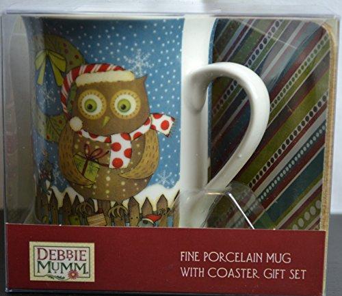 Owl Christmas Winter Holiday Debbie Mumm Fine Porcelain Coffee Mug With Coaster Gift Set