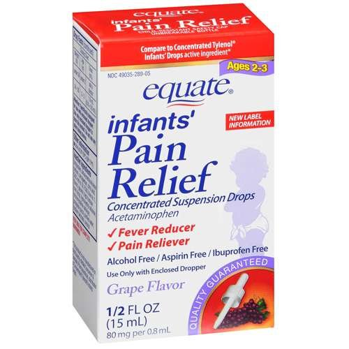 Equate Acetaminophen Fever Reducer / Pain Reliever Concentrated Infants' Drops, Grape Flavor 1/2 oz