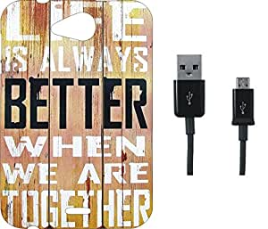 BKDT Marketing Printed Soft Back Cover Combo for Micromax Canvas Play Q355 With Charging Cable