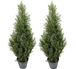 TWO Pre-potted 3\' Artificial Cedar Topiary Outdoor Indoor Tree