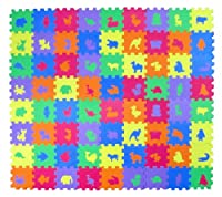 """Animal Zoo Educational Foam Puzzle Floor Mat for Kids + 72 Pieces, 6""""x6"""" Squares Blocks, Covers 18 sq ft by Foam Puzzle Mat"""