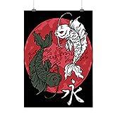 Japan Sun Rise Fish Koi Flag Matte/Glossy Poster A2 (60cm x 42cm) | Wellcoda