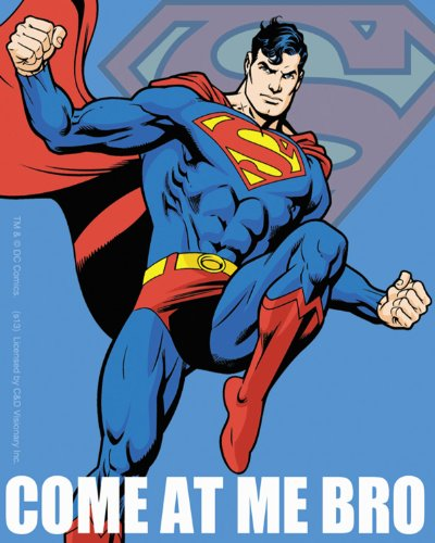 Licenses Products DC Comics Superman Come At Me Bro Jumping Blue Sticker - 1