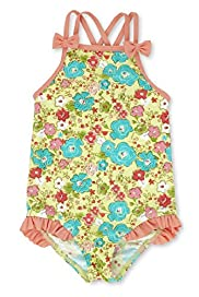 Square Neck Bow Detailed Floral Swimsuit