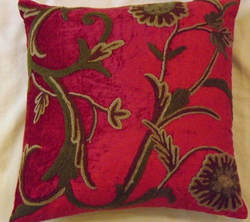 Crewel Pillow Curve Bright Red Cotton Viscose Velvet (16X16)
