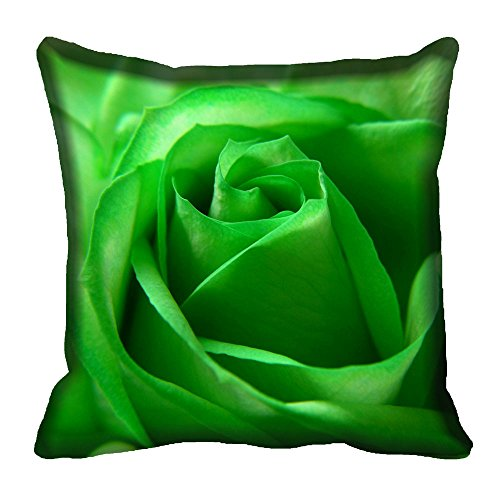 meSleep Green Rose Digital Printed Cushion Cover 16x16