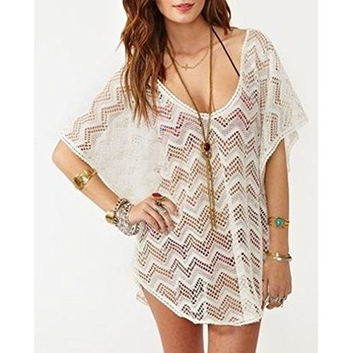 717c156d1 MG Collection® Fashion White Chevron Openwork Design Beachwear Swimsuit  Cover Up