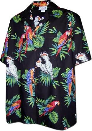 Jungle Parrots Men's Hawaiian Shirts Black S