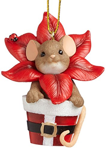 Enesco Charming Tails Gift Blossoming Poinsettia Ornament, 2.375-Inch