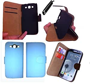 Sell-Ideas® Samsung Galaxy S3 9300 Wallet Case Cover With Free Screen Cover and Stylus (S3 Premium Stand Teal Blue)