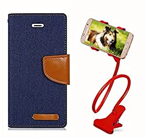 Aart Fancy Wallet Dairy Jeans Flip Case Cover for NokiaN520 (Navy Blue) + 360 Rotating Bed Moblie Phone Holder Universal Car Holder Stand Lazy Bed Desktop by Aart store.