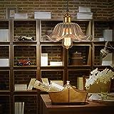 WinSoon 30cm x 20cm MODERN VINTAGE INDUSTRIAL HANGING GLASS CEILING LAMP Flower SHADE PENDANT LIGHT