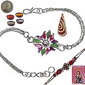 Indiangiftemporium Send Charming Jaipuri Floral Design Silver Rakhi Rakhi Raksha Bandhan Gift Band Moli Bracelet...