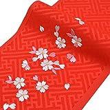 日本製 子供用 刺繍半衿(半襟) 赤 桜柄1 七五三 結婚式 3歳 7歳 半襟