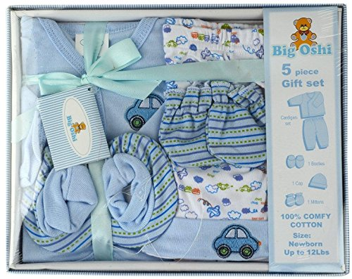Big Oshi Unisex-baby Layette 5 Piece Gift Set, Blue, 0-3 Months
