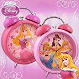 NEW DISNEY PRINCESS RETRO JUMBO LARGE PINK ALARM CLOCK