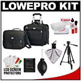 Lowepro Pro Roller Attache x50 Digital SLR Camera Bag/Case with Wheels (Black) with Deluxe Photo/Video Tripod + Canon Cleaning Kit for Canon EOS 7D, 5D Mark II III, 60D, Rebel T3, T3i, T2i Digital SLR Cameras