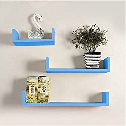 Onlineshoppee Wooden Handicraft Wall Decor Brown Designer Wall Shelf Pack of 3 Sky Blue