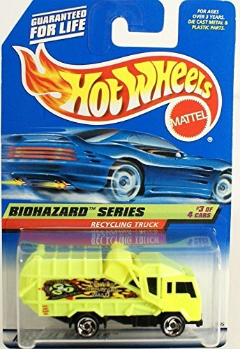 Mattel Hot Wheels 1998 1:64 Scale Biohazard Series #3 of 4 Yellow Recycling Truck Coll #719 Die Cast Car
