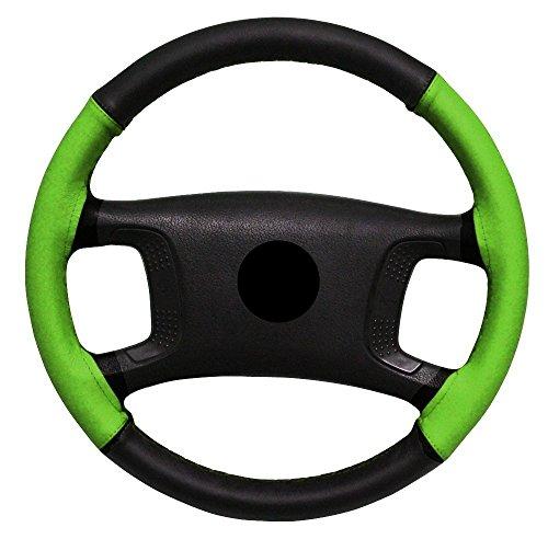 AERZETIX-Couvre-volant--coudre-en-cuir-vritable-Couleur-noir-et-vert-Taille-M