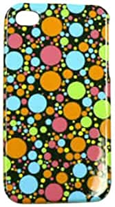Cell Armor Snap-On Case for iPhone 4/4S - Retail Packaging - Multi-Color Dots on Black