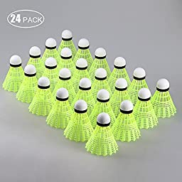 24 Counts Kevenz Fine Sporting Nylon Yellow Badminton Shuttlecock