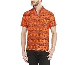 Castor Mens Ethnic Short Kurta Om Design_Orange_XL
