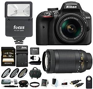 Nikon D3400 DSLR Camera w/ 18-55mm & 70-300mm Lens, Flash, Filters and 64GB Kit