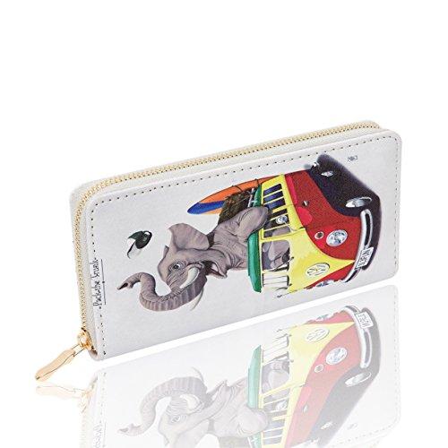 14. Women Clutch Wallet, PJS-MAX Leather Long Wallet Credit Card Holder Purse Handbag