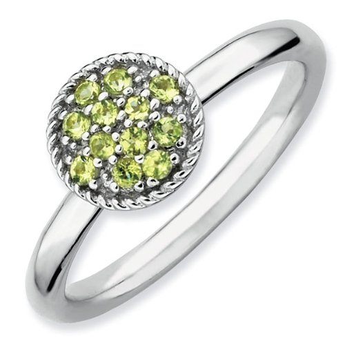 Peridot Cluster Stackable Ring - Size 5