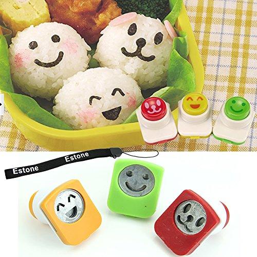 Estone® 3Pcs Smile Cute Nori Sushi Rice Mold Decor Cutter Bento Maker Sandwich Diy Tool front-318695