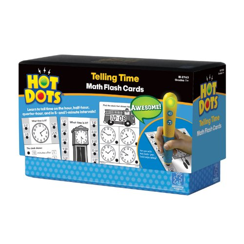 Educational Insights Hot Dots Math Flash Cards Telling Time