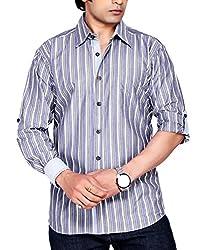 Moksh Men's Striped Casual Shirt V2IMS0414-23 (Large)