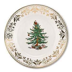 Amazon Com Spode Christmas Tree Gold Dinner Plate Set