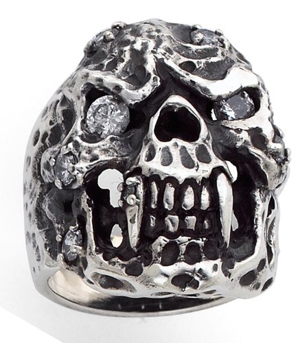 Stainless Steel Casting Skulls Ring WITH CZ and Large Fangs (Available in Sizes 10 to 14) size 11