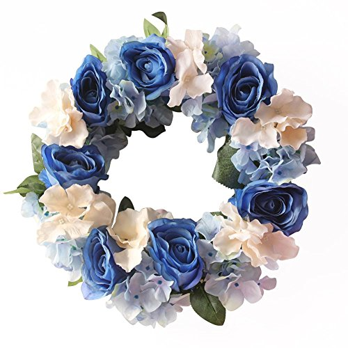 Flower Wreath Artificial Blooming Rose Head Handmade Home Wall Decor