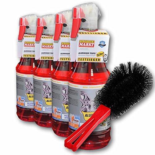 4x-Detergente-cerchi-auto-Alluminio-DIAVOLO-1000-ml-rosso-plus-Spazzola-per-ruote