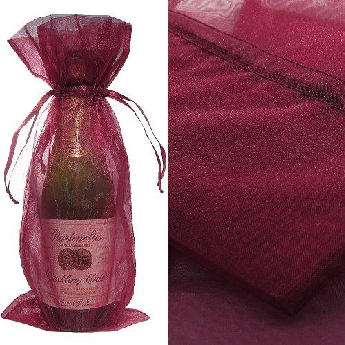 Wine Color Organza Wine Bottle Favor Gift Bags (Set of 10)