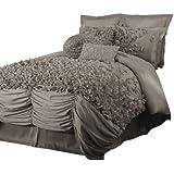 Lush Decor Lucia 4-Piece Comforter Set, King, Gray