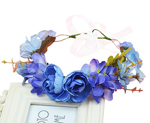Vivivalue Floral Garland Flower Wreath Crown Headband with Ribbon Boho for Festival Wedding Blue