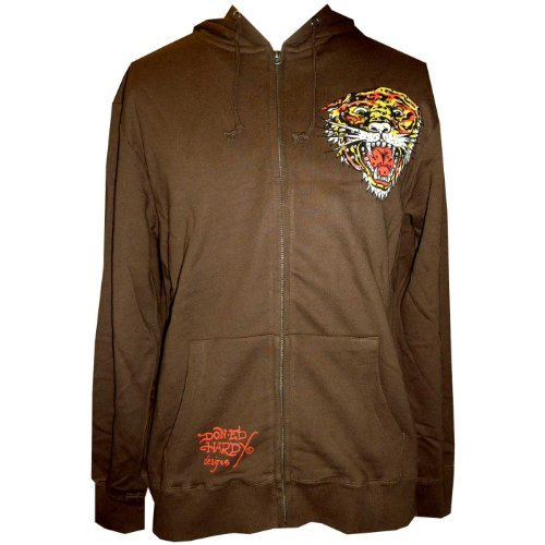 Ed Hardy Mens Tiger Zip Up Hoodie - Brown - Large