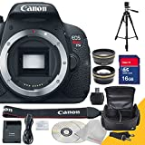 Canon EOS Rebel T5i Body Only with Full Size Professional Tripod , Wide Angle Lens, Telephoto Lens and 16GB SDHC Class 10 High Speed Memory Card with USB SD Card Reader, Camera Case with Rain Protection and 5AveCamera Cloth
