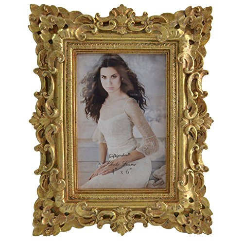 Gift Garden Friends Gift Gold Vintage Picture Frame 4 by 6 -Inch in hand Painted for Photo Display 4x6 0