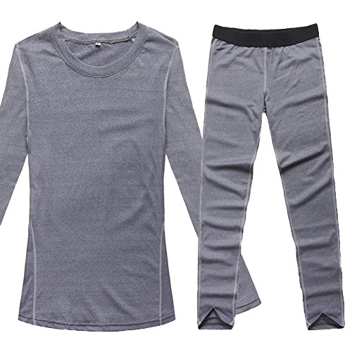 Liveinu Women's Activewear 2-Piece Set Fitted Top and Bottom Grey L