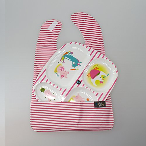 My Friend Huggles Feeding Plate & Bib with Food Catcher Pocket,  Pink