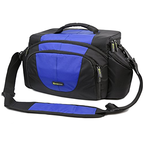Evecase Extra Large Dslr Camera Travel Case/Bag With Shoulder Strap - Black/Blue For Canon, Nikon, Sony, Panasonic, Fujifilm, Olympus, Pentax And More