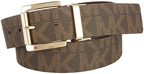 Michael Kors Womens MK Buckle Reversible Belt Medium Chocolate brown