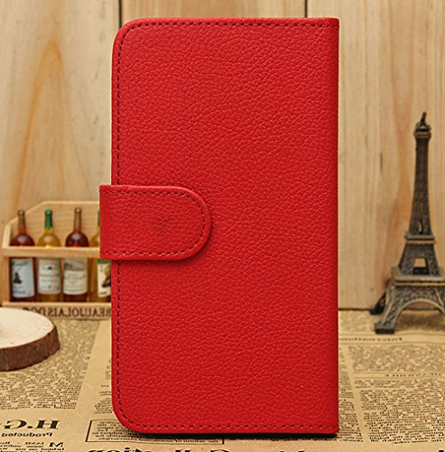 Mylife (Tm) Lava Red {Classic Design} Faux Leather (Card, Cash And Id Holder + Magnetic Closing) Slim Wallet For The All-New Htc One M8 Android Smartphone - Aka, 2Nd Gen Htc One (External Textured Synthetic Leather With Magnetic Clip + Internal Secure Sna
